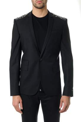 Les Hommes Black Wool Blazer With Lace-up Detail