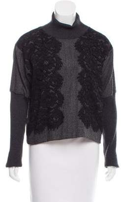 Dolce & Gabbana Lace-Accented Wool & Cashmere-Blend Top