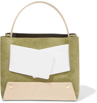 Yuzefi - Dinky Color-block Suede And Textured-leather Tote - Army green