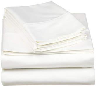 Superior 530 Thread Count Premium Combed Cotton Solid Sheet Set - Full - White Bedding