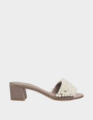 Tory Burch Tatiana Pearl Mule Shoes in Dust Hurricane Satin