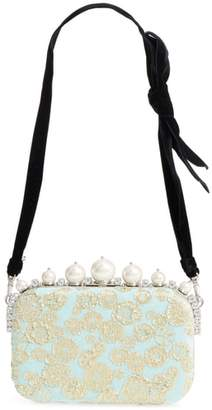 Miu Miu Imitation Pearl & Metallic Brocade Shoulder Bag