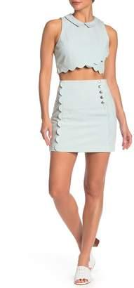 BCBGeneration Scalloped Denim Mini Skirt