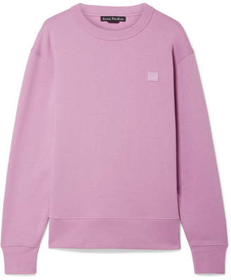 Acne Studios Fairview Face Appliquéd Cotton-jersey Sweatshirt - Lilac