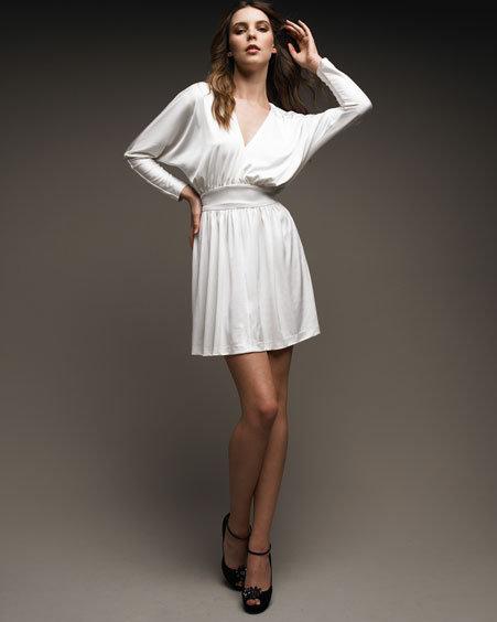Halston Heritage V-Neck Jersey Dress