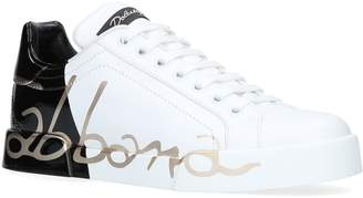 Dolce & Gabbana Leather Portofino Logo Sneakers