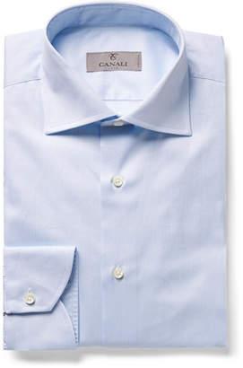 Canali Light-blue Slim-fit Cutaway-collar Striped Cotton-twill Shirt - Blue