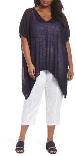 Organic Linen Blend Poncho Sweater