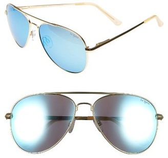 Women's Le Specs Drop Top 60Mm Polarized Aviator Sunglasses - Brushed Gold $89 thestylecure.com