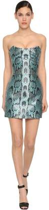 Roberto Cavalli CHANTUNG PYTHON PRINT MINI DRESS