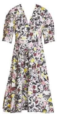 Erdem Women's Cressida Floral Puff-Sleeve A-Line Dress - White Pink - Size UK 6 (2)