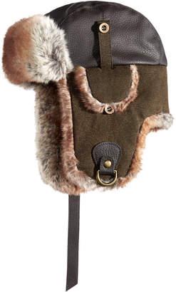 Woolrich Men Faux-Leather & Canvas Trooper Hat