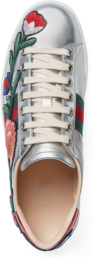 Gucci New Ace Floral Leather Sneaker, Silver 4