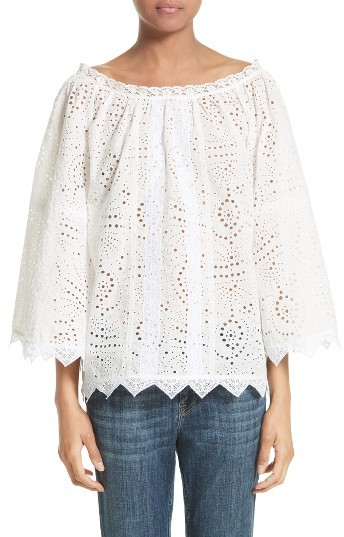 Women's Burberry Thistle Eyelet Lace Off The Shoulder Blouse