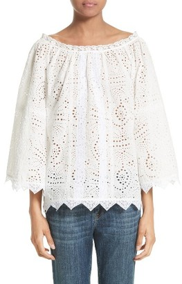Women's Burberry Thistle Eyelet Lace Off The Shoulder Blouse $550 thestylecure.com