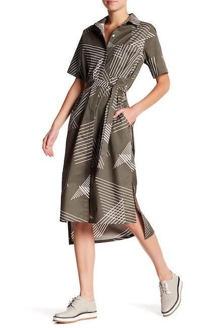 DKNY Short Sleeve Printed Shirt Dress