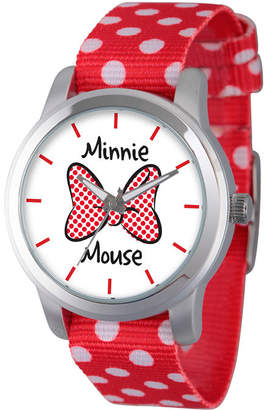 Disney Womens Minnie Mouse Red Polka Dot And BowStrap Watch