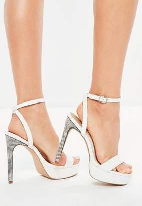 Missguided White Diamante Platform Heeled Sandals