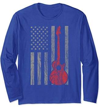 Vintage Distressed Guitar U.S. Flag Guitar Long Sleeve Shirt