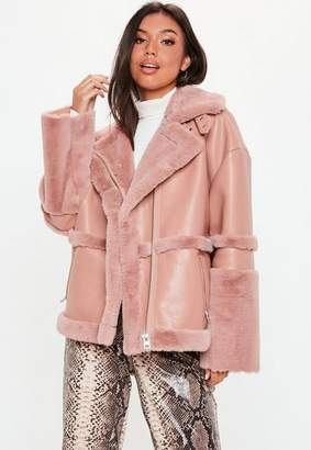 Missguided Pink Faux Fur Aviator Jacket