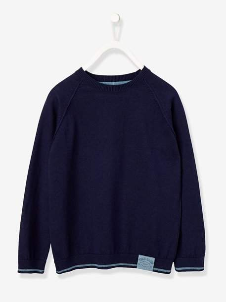 Boys' Round Neck Jumper - green dark mixed color