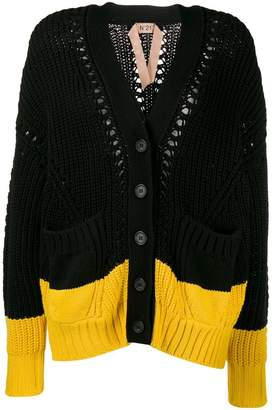 No.21 two tone knitted cardigan
