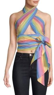MDS Stripes Everything Scarf Rainbow Top