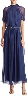 Ralph Lauren Darabont Short-Sleeve Belted Scarf-Back Long Dress