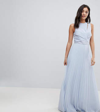 Asos Tall DESIGN Tall lace top pleated maxi dress