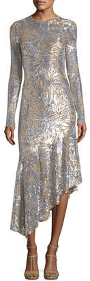 Michael Kors Leaf Paillettes Long-Sleeve Midi Dress