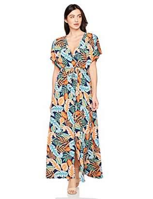 Elise Bloom Women's Boho Deep V Neck Floral Chiffon Wrap Split Long Maxi Dress