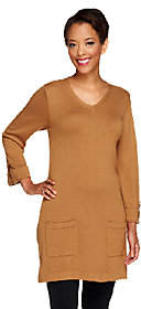 Denim & Co. V-neck 3/4 Tab Sleeve Sweater Tunicwith Pockets