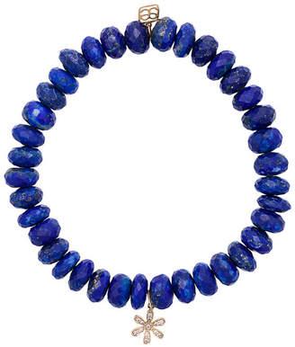 Sydney Evan 14kt gold Lapis beaded bracelet with diamond flower charm