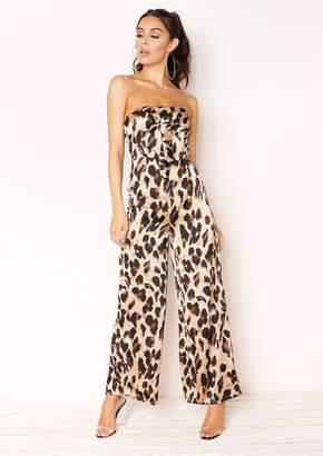d0ec770f876 Missy Empire Missyempire Phoebe Leopard Print Bandeau Tie Front Jumpsuit
