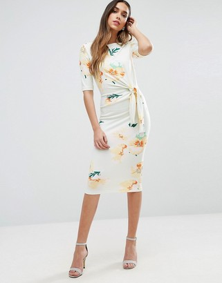 ASOS Midi Pencil Dress With Knot Detail In Floral Print $73 thestylecure.com