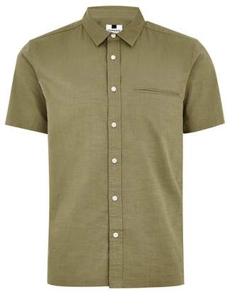 Topman Mens Grey Khaki Slub Revere Short Sleeve Shirt