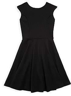 Un Deux Trois Girl's Textured Chevron Flare Dress