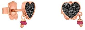 Tous Jeweled Heart Stud Drop Earrings