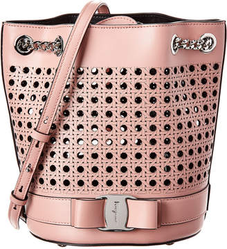 Salvatore Ferragamo Laser-Cut Leather Bucket Bag