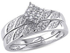 Concerto 0.10 TCW Diamond Studded Sterling Silver Bridal Ring Set
