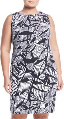 Kasper Plus Leaf-Print Sleeveless Sheath Dress, Plus Size