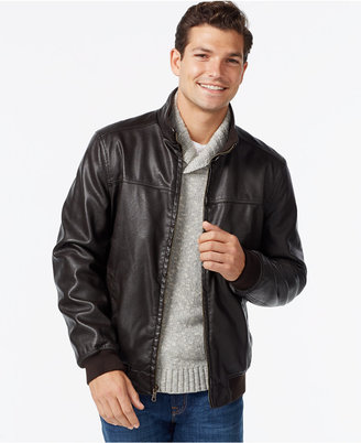 Tommy Hilfiger Faux-Leather Bomber Jacket $195 thestylecure.com
