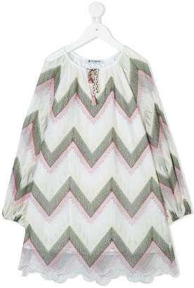 Dondup Kids chevron print shift dress