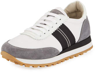 Brunello Cucinelli Suede and Nylon Platform Trainer Sneaker