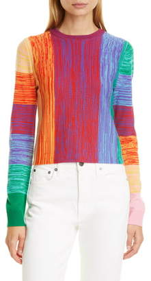 Alice + Olivia Connie Crop Crewneck Wool Sweater