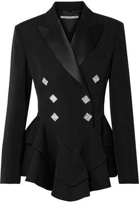 Alessandra Rich Crystal-embellished Satin-trimmed Wool-crepe Peplum Blazer - Black