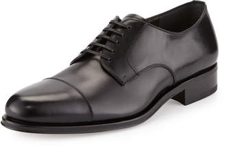 Salvatore Ferragamo Calfskin Cap-Toe Oxford, Black