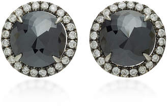 Black Diamond Nina Runsdorf Rose Cut 18K Gold Studs
