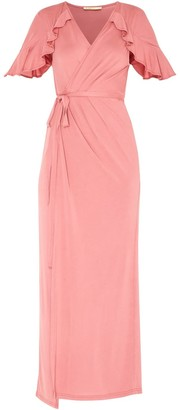 Paisie Maxi Jersey Wrap Dress With Short Frilled Sleeves In Coral