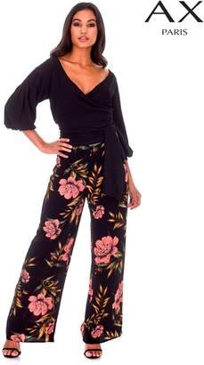 Next Womens AX Paris Floral Print High Waisted Wide Leg Trousers